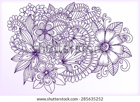 Card with doodle flowers - stock vector