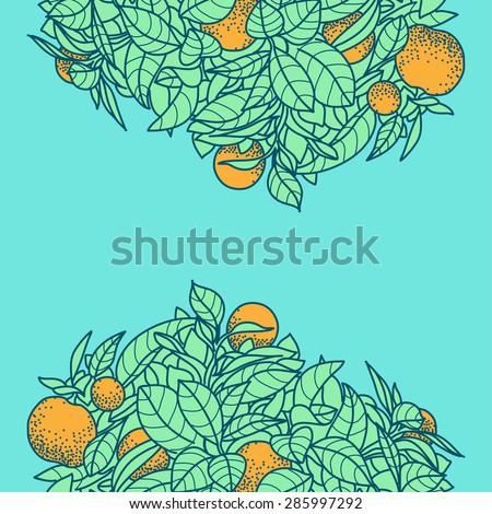 Card with drawing of a small tangerine, lemon or orange citrus tree in a pot in contour style. Background for design of banner, card, poste, calendars, identity, web - stock vector