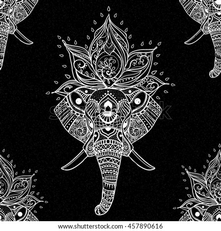 Card with Elephant. Pattern Illustration for design textiles.  - stock vector