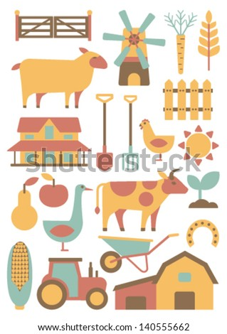 card with farm related items - stock vector