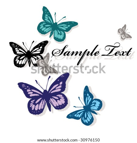 card with five flying butterflies