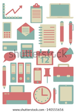 card with flat business icons - stock vector