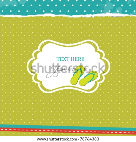 Card with flip-flops - stock vector