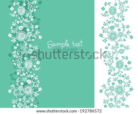card with floral background. vertical seamless pattern. - stock vector