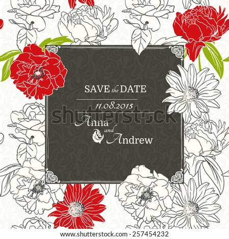 Card with Floral Design, Monochrome design with several red flowers