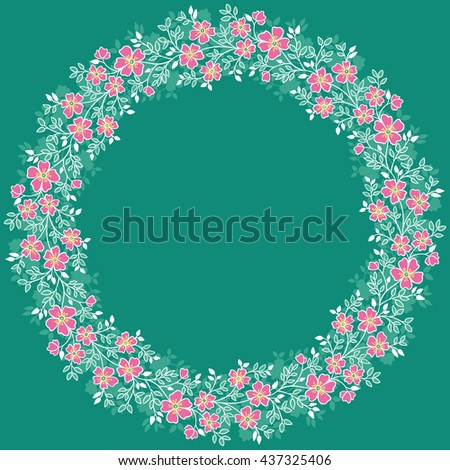 card with floral pattern. wreath of stylized tree branch. - stock vector