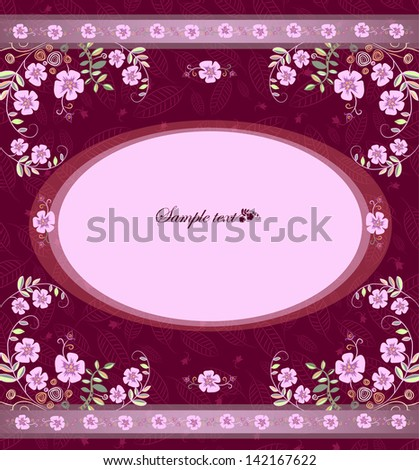 card with flowers on a claret background in an oval - stock vector