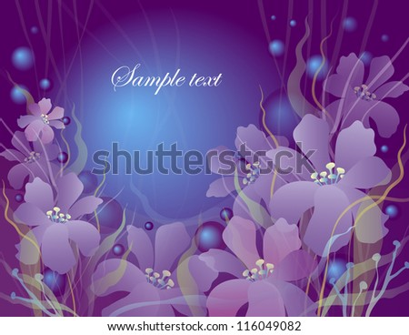 card with flowers on burgundy background - stock vector