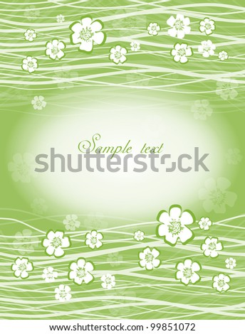 card with flowers on light green background - stock vector