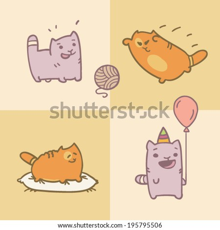 Card with four different cats playing with ball of yarn, resting on pillow and have fun on party with balloon in cartoon style - stock vector