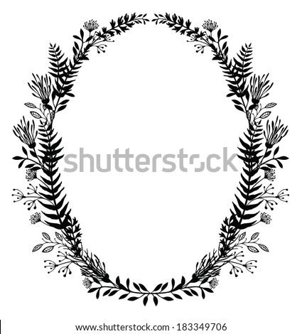 Card with frame of flowers and ferns, black silhouette - stock vector