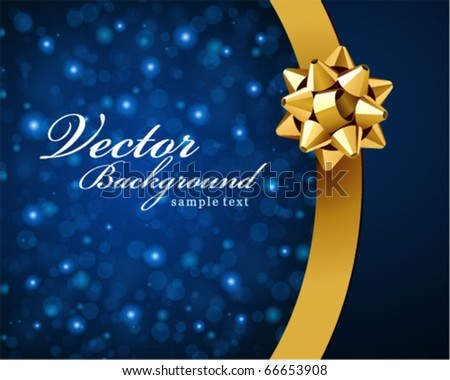 Card with gold bow vector background - stock vector