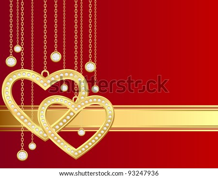 Card with golden heart and brilliants on a red background - stock vector