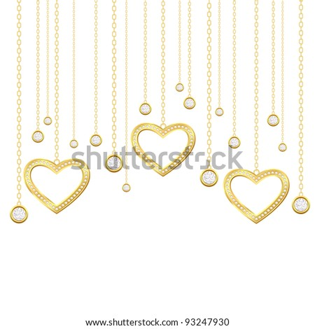 Card with golden heart and brilliants on a white background - stock vector