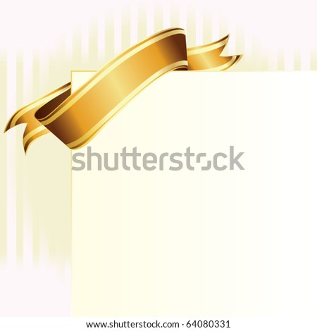 card with golden ribbon vector