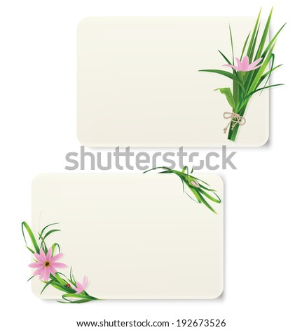 Card with grass and flowers. Vector illustration