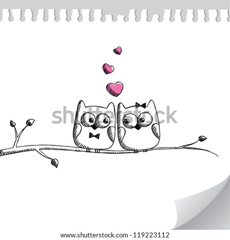 card with hand drawn owls on paper page - stock vector