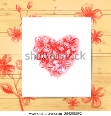 Card with heart on wood texture. Wedding cards, invitations, banners. Marriage event. Vector watercolor background. - stock vector
