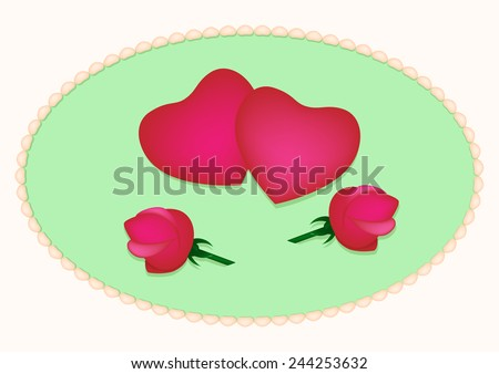 Card with hearts and roses - stock vector