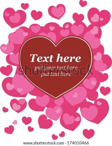 Card with hearts. Text is on separate layer for easy edit. - stock vector