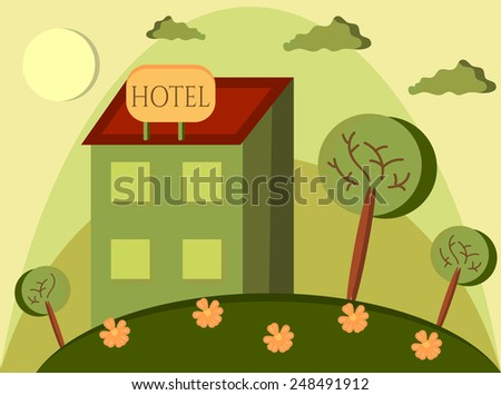 Card with hotel on the green hill - stock vector