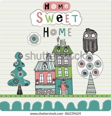 card with house and owl - stock vector
