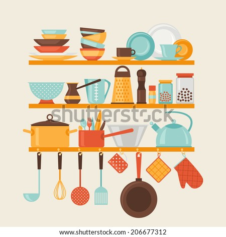 Card with kitchen shelves and cooking utensils in retro style. - stock vector