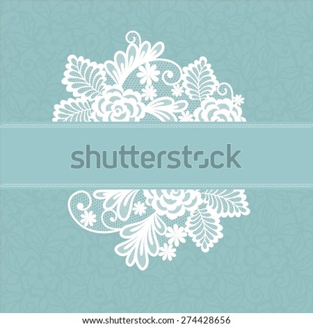 card with lace flowers decoration element - stock vector