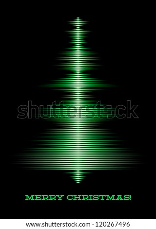 Card with music waveform as christmas tree - stock vector
