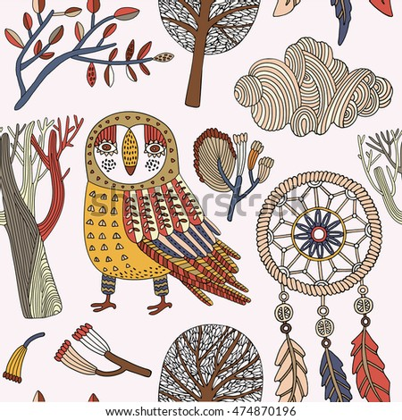Card with owl, autumn trees and dream catcher. Vector illustration.