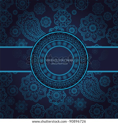 Card With Paisley And Floral Seamless Design - stock vector