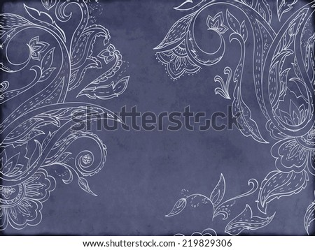 Card with paisley pattern. Place for your text - stock vector