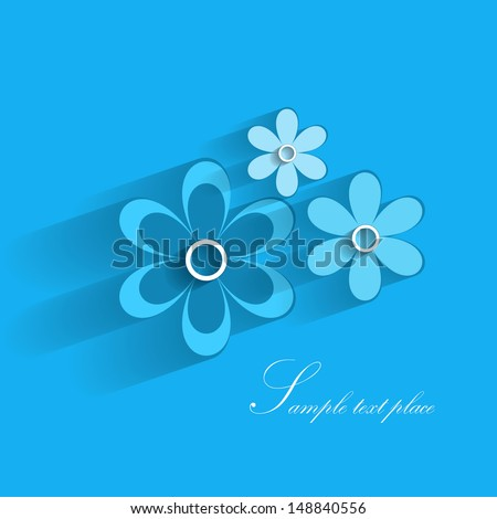 Card with paper flowers blue - stock vector