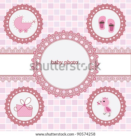 Card with photo frame for your baby girl - stock vector