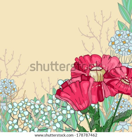 Card with poppy - stock vector