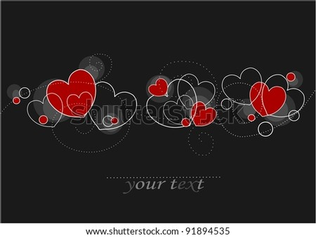 Card with red and white hearts with empty place for your text - stock vector