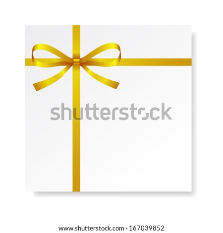 Card with red gold bow with ribbons, vector - stock vector