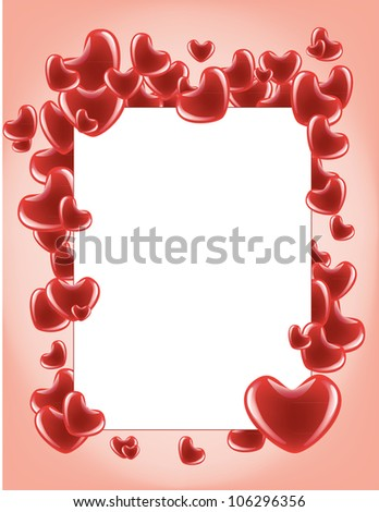 Card with red hearts on the pink background