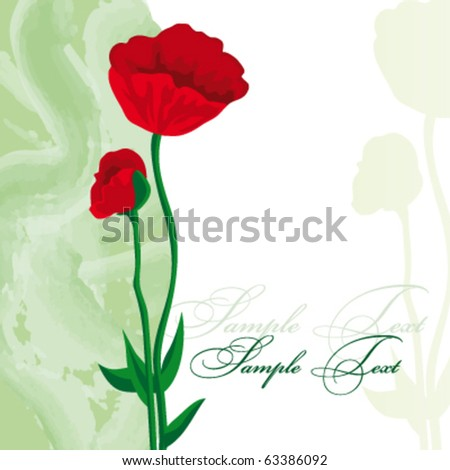 Card with red poppies - stock vector