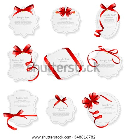 Card with Red Ribbon and Bow Set. Vector illustration EPS10 - stock vector