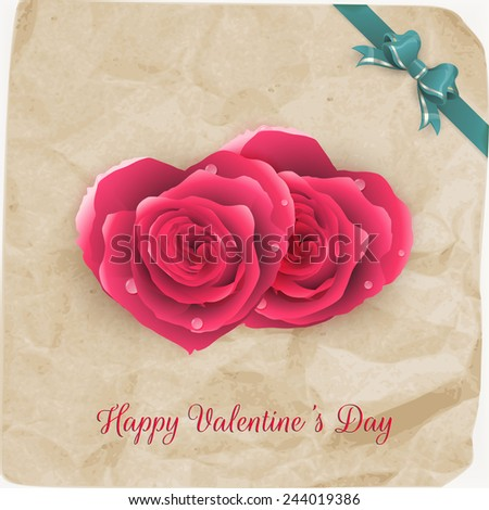 Card with red roses and vintage paper. EPS 10 vector file included - stock vector