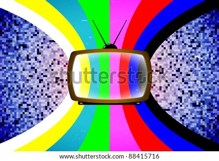 Card with retro tv and styled color table - stock vector