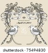 card with ribbon and bird - stock vector