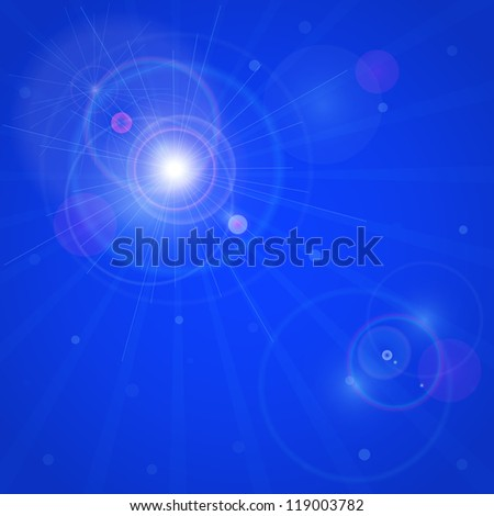 Card with Shiny Star in Dark Blue Sky. Vector Lenses Flare Effect Background. - stock vector