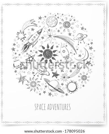 Card with sketchy space objects and place for your text. Vector illustration.  - stock vector