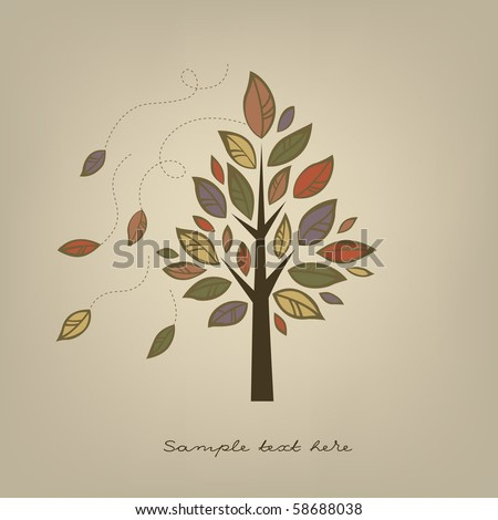 Card with stylized autumn tree - stock vector