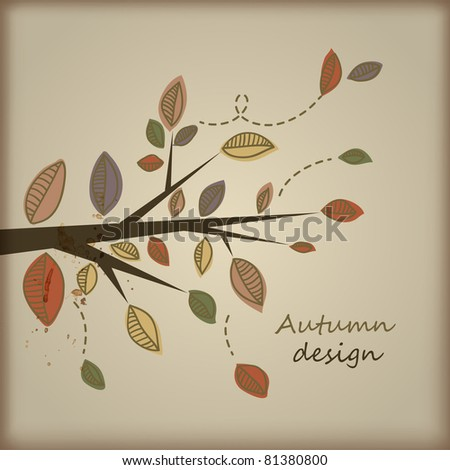 Card with stylized autumn tree branch - stock vector
