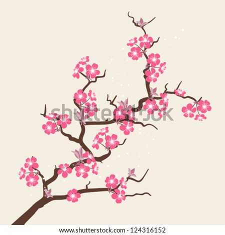Card with stylized cherry blossom flowers. - stock vector