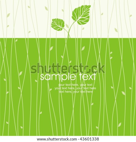 card with stylized leaf - stock vector