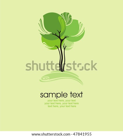 card with stylized tree and text - stock vector
